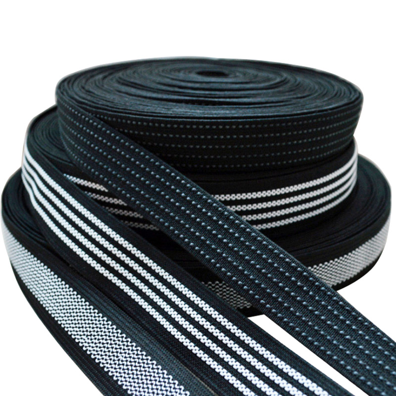 White Rubber Thread With Polyester Non Slip Elastic Band