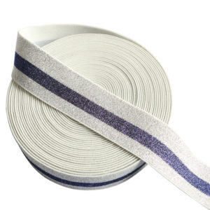 Silver Metallic Glitter Elastic Webbing For Men's Underwear