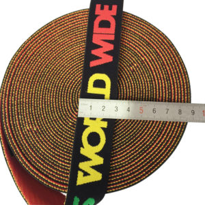 3cm Soft suede nylon fiber elastic band with jacquard logo in green,yellow and red