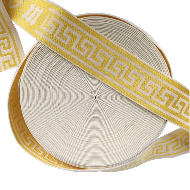 gold shiny jacquard woven elastic band