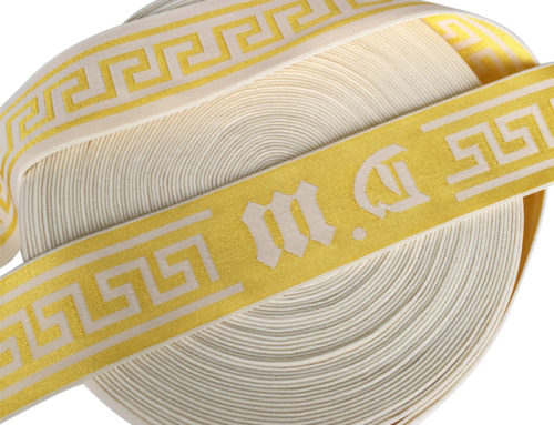 4cm gold shiny jacquard woven elastic band for sweater and underwear