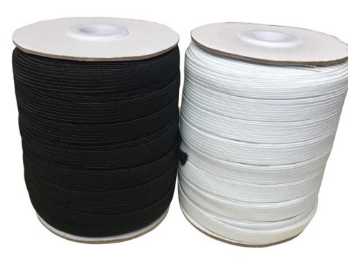 White black braided elastic tape 9mm 10mm width for garment
