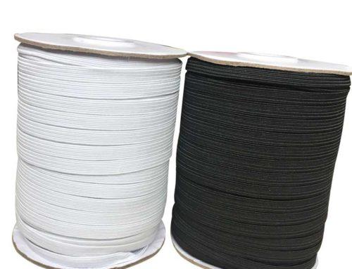 Braided elastic tape 5mm 6mm width white black for garment
